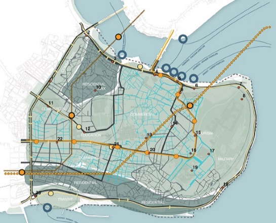 Map of the Istanbul Historic Peninsula, with pedestrianized streets in blue. Image: EMBARQ Turkey via TheCityFix