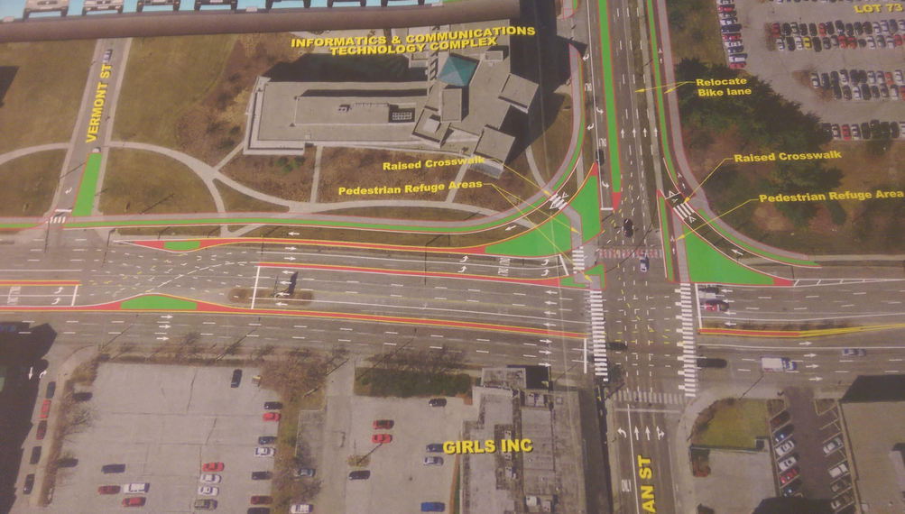 These plans for roads new downtown Indianapolis aren't much of an improvement for pedestrians. Image: Urban Indy