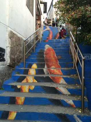 This staircase in Seoul, South Korea, hosts a mural that helps make it more visually appealing and inviting. Photo: Randy Simes