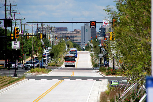 Bus rapid transit in Crystal City, Virginia. Photo: Beyond DC via Flickr