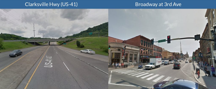 Will U.S. DOT encourage projects like the one on the left or the one on the right? Image: Transportation for America