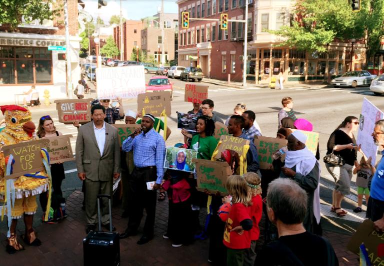 """Crosswalk protests"" helped make the case for a safer Rainier Avenue. Photo: Seattle Bike Blog"