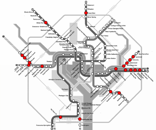 A proposal from Washington's WMATA suggests closing 20 Metro stations, outside of rush hour, cutting bus service and raising fares to close a $275 million budget gap. Image: WMATA via Greater Greater Washington